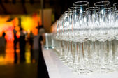 Heap of stemware glass at party — Foto de Stock
