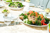 Catering table set decoration — Stock Photo