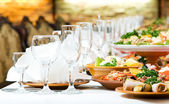 Catering food table set decoration — Stock Photo