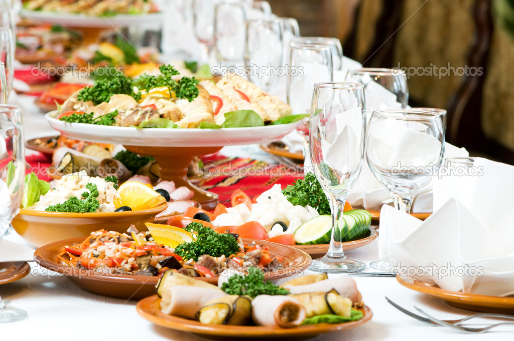 Catering Food Table Set Decoration Stock Photo