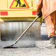 Asphalt paving works with compactor — Stock Photo #5456985