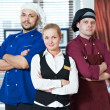 Restaurant administrator and chefs — Stockfoto