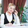 Stock Photo: Restaurant manager woman at work place