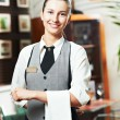 Waitress girl of commercial restaurant — Foto Stock