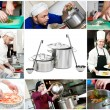 Two steel pots with laddles — Stock Photo