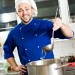Chef with scoop — Stock Photo