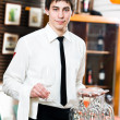 Waiter in uniform at restaurant — Foto Stock
