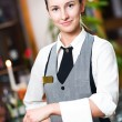 Waitress girl of commercial restaurant — Stockfoto