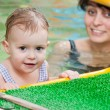 Stock Photo: Little girl and mothe in swimming pool