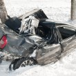 Winter car crash accident - Stock Photo