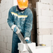 Construction mason worker bricklayer — Stock Photo #5458663