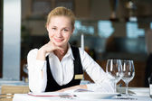 Restaurant manager woman at work place — Zdjęcie stockowe