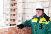 Smiling builder worker foreman — Stock Photo
