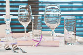 Catering table with stemware — Stock Photo