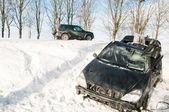 Winter car crash accident — Stock Photo