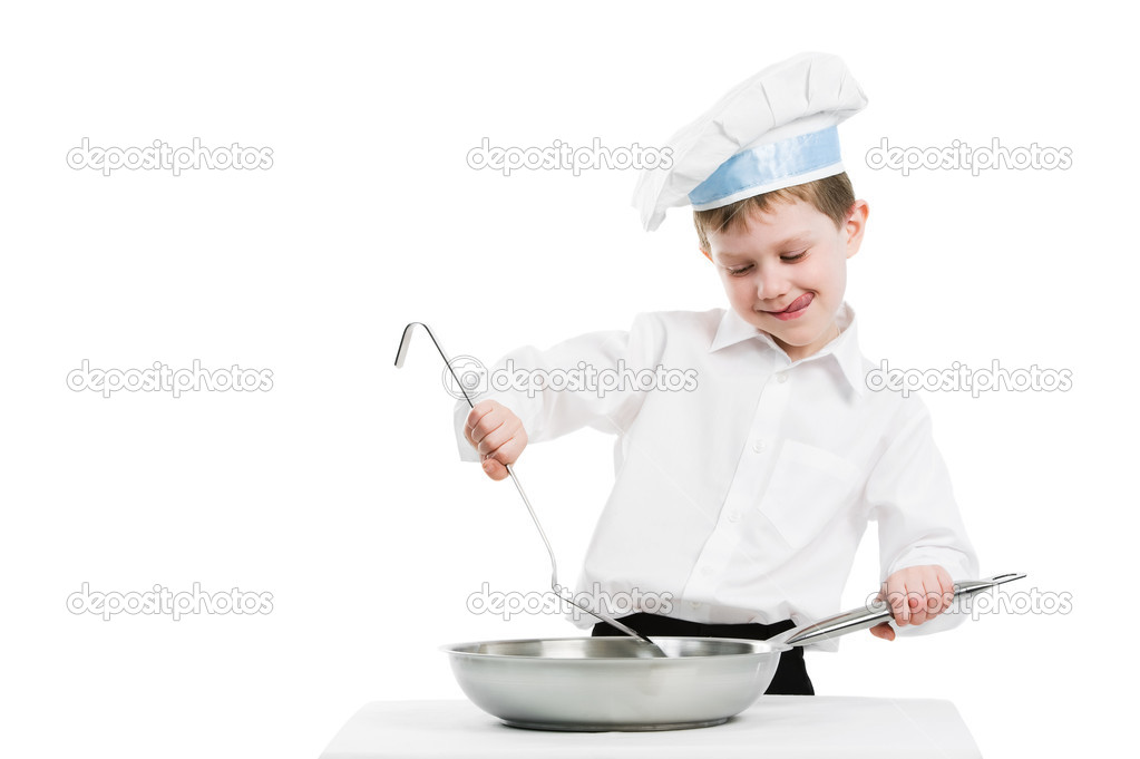 Child chef in white uniform and hat with frying pan isolated — Stock Photo #5456705