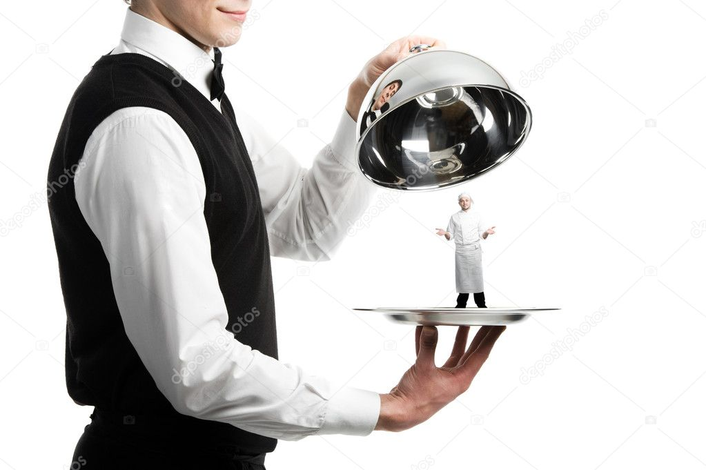 Close up hands of waiter with metal cloche and chef under it — Stock Photo #5456959