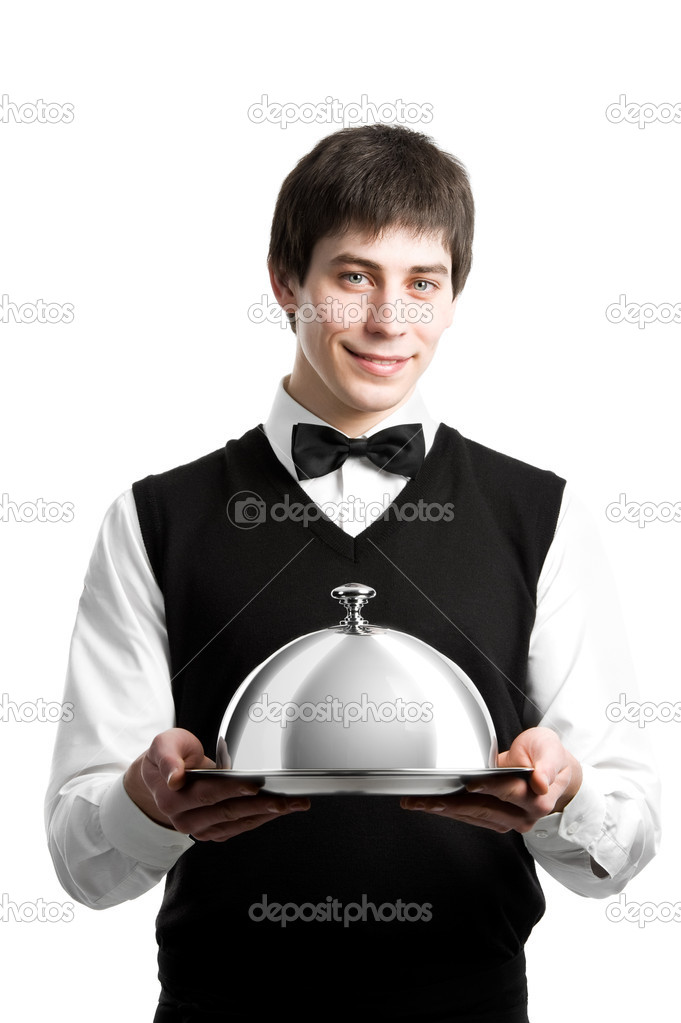 Cheerful waiter srvant with metal cloche lid cover — Stok fotoğraf #5456967