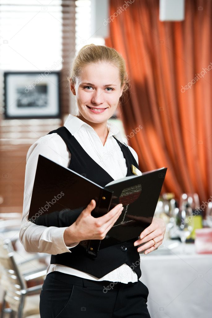 Happy beautiful restaurant manager woman administrator at work place  Stock Photo #5457287