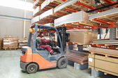 Warehouse forklift loader worker — Stock Photo