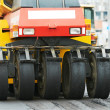 Pneumatic asphalt roller at work — Stock Photo