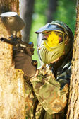 Paintball player head shot — Stock Photo