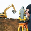 Surveyor works with theodolite tacheometer - Stock Photo