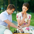 Chess game outdoors — Stock Photo