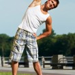 Stretching exercises before sport jogging — Stock Photo