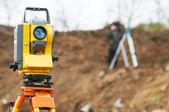 Surveyor theodolite on tripod — Stock Photo