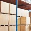 Warehouse cardboard boxes arrangement indoors — Stock Photo #6045121