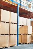 Warehouse cardboard boxes arrangement indoors — Stock Photo