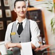 Waitress girl of commercial restaurant - Stock Photo