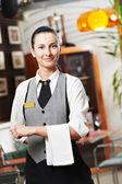 Waitress girl of commercial restaurant — Stock Photo
