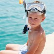 Smiling boy with snorkeling gear — Stock Photo
