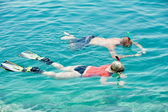 Active couple snorkeling at red sea — Stock Photo
