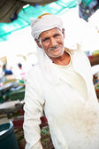 Arab old man at egyptian meet shop — Stock Photo