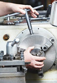 Metal blank machining process — Stock Photo