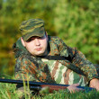 Hunter with rifle gun — Stock Photo #6606747