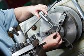 Metal blank machining process — Stock Photo