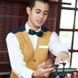 Royalty-Free Stock Photo: Cheerful arab barman