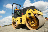 Compactor roller at road work — Stock Photo