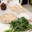 Meat dumplingswith nettle - Stock Photo