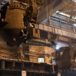 steelmaking ladles on crane hanging on steel mill — Stock Photo
