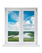White plastic double door window with view — Stock Photo