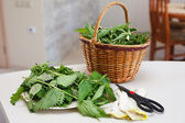 Fresh gathered nettles in a wicker basket on the table in the kitchen — Stock Photo