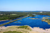 Panorama of lakes and woods of Karelia republic, Russia. Railway line. Top — Stock Photo