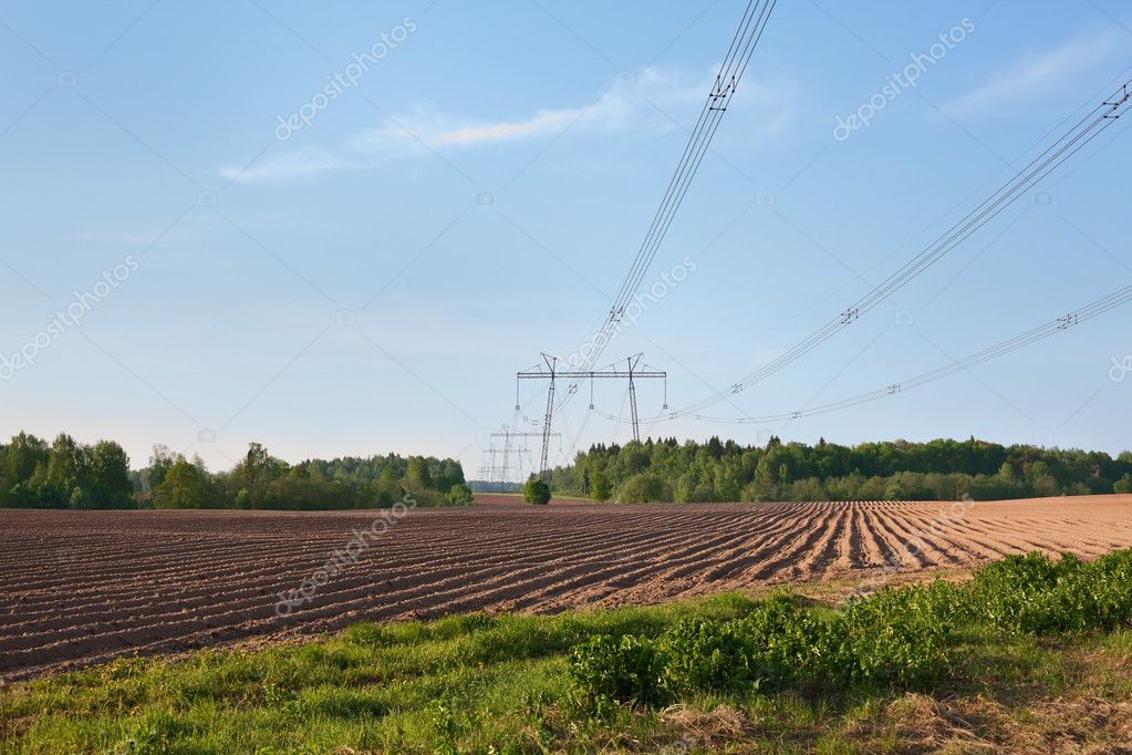 Agricultural field with electrical wires hanging from columns — Stock Photo #6489967