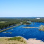Panorama of lakes and woods of Karelia republic, Russia. Railway line. Top — Stock Photo #6490001