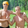 Muscular two young caucasians men — Foto de Stock
